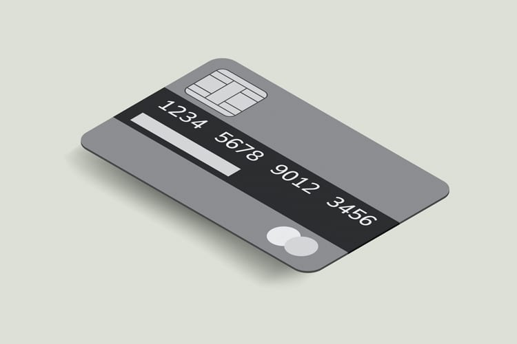 Illustration of a gray credit card floating on a light background