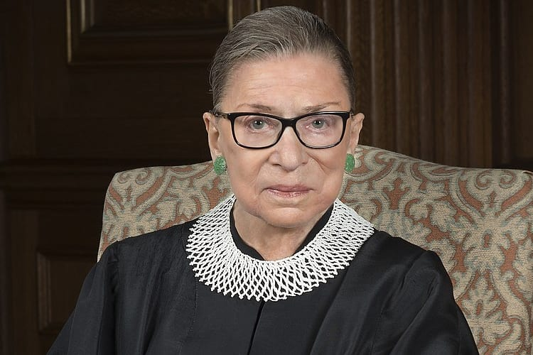 Portrait of the late Ruth Bader Ginsburg in her judicial robes