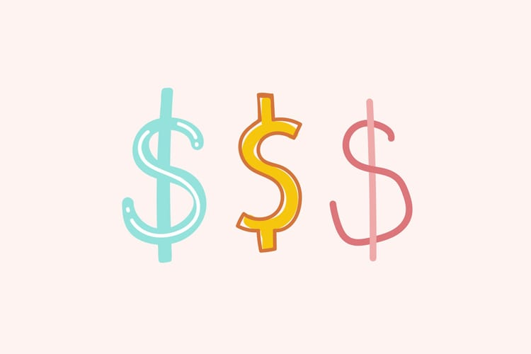 Illustration of 3 different money signs in various fonts