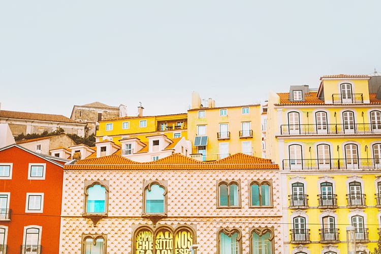 Colorful buildings from Portugal in orange and yellow