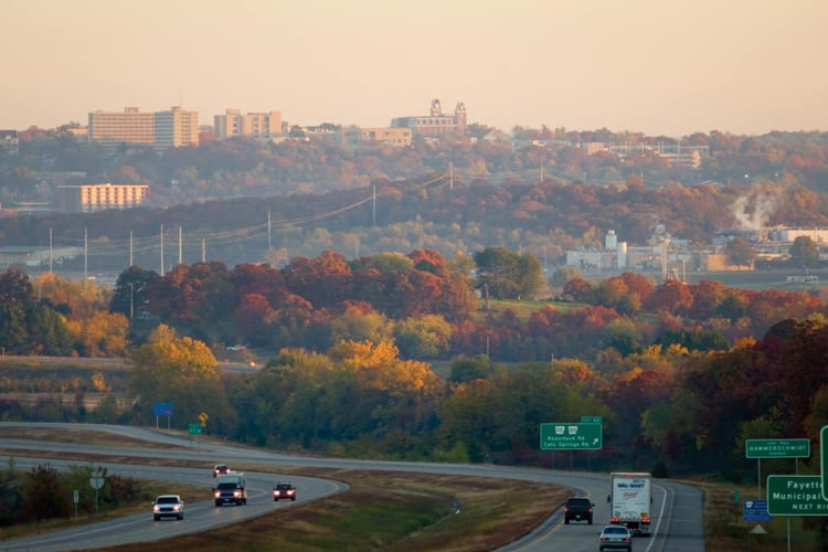 Landscape view of Northwest Arkansas of nature and freeway during fall season