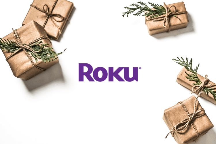 A graphic of the Roku logo between presents