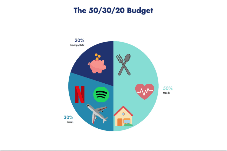 A graph showing the 50/30/20 Budget